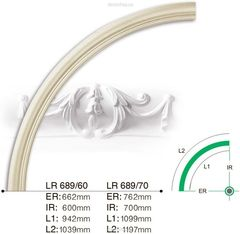 Потолочный бордюр (дуга) Gaudi Decor LR 689R/70 вставка радиальная